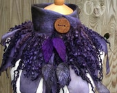 Forest cowl- scarf-Woodland Felted Cowl - silk scarf - autumn scarf scarf - gothic scarf- woodland scarf- bohoscarf
