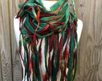 Dreadlock tendril scarf-Boho scarf-lagenlook -colourful  wool scarf- unique  Scarf- Autumn Scarf- Wool Scarf