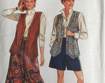 Simplicity 8059, Size Petite, Small, Medium, Large, X Large, Misses' Split Skirt in Two Lengths and Lined Vest Pattern, UNCUT, Vintage 1992