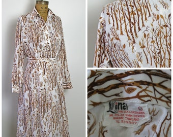 1960s Thai Silk Novelty Print Dress