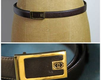 on sale Brown Leather Gucci Belt