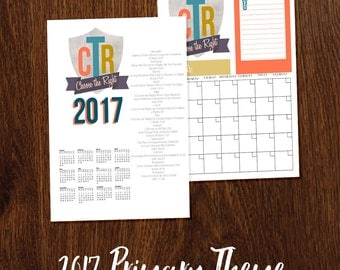 2017 primary theme Yearly Calendar & Monthly Calendar