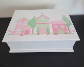 Baby Girl Keepsake, Memory box, newborn gift , Christening or Baptism box - Handpainted