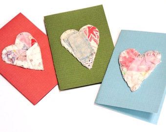Valentine Gift Enclosure Cards, Patchwork Heart Greeting Notecards,Unique Primitve Vintage Feedsack Quilted All Occasion Tags itsyourcountry