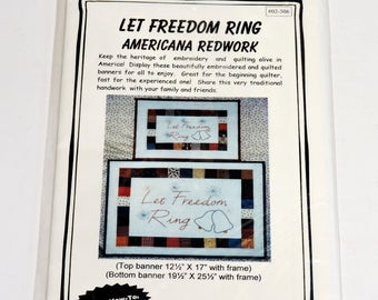Patriotic Let Freedom Ring Americana Redwork Embroidered Patchwork Quilt Wall Hanging Quilt Connection Craft Pattern Original itsyourcountry