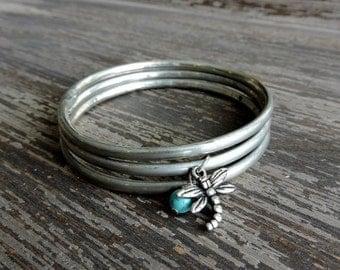 ON SALE Dragonfly Bracelet Set, Distressed Silver Stacked Bracelets, Turquoise Howlite Stone, Boho Gypsy Jewelry, Bohemian Indian Bangles, I