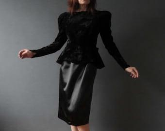 Vintage 80s Crushed Velvet Satin Structured Dress Backless with Bow