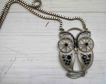 Filigree Owl Pendant Silver Tone Black Jewel