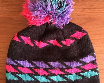 Heart Throb Neon and Black Pom Beanie Hat Pink Purple Teal Pompom Tassel Cap