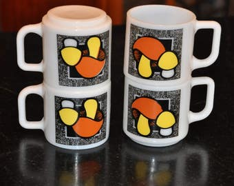4 - Vintage MUSHROOM STACKING  MUGS - Milk Glass Orange Yellow Black background  1970s