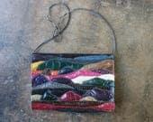 Reptile Wave Purse / Vintage Quilted Snake Handbag / Vintage Large Clutch