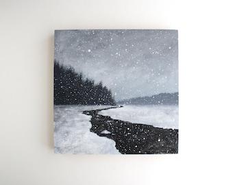 Winter Stream Painting - 8 x 8