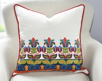 CLEARANCE // Designer Vintage Tulip Pillow Cover -- 20x20 -- Red Welt -- Red / Green / Blue / Gold -- Zipper Closure
