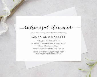 Printable Wedding Rehearsal and Dinner Invitation