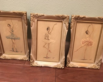 3 monte Wall Art Ballet art prints with wood frame shabby chic vintage mid century