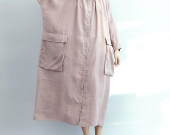spring Large pocket dress Cotton and linen oversized long dress long shirt dress