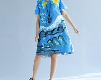 Women summer dress blue dress Asymmetrical dress