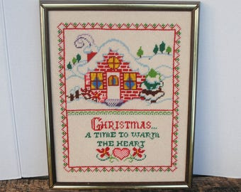 Vintage Christmas Needlepoint Finished Framed Picture A Time To Warm The Heart