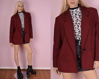 90s Red and Black Houndstooth Jacket/ Medium/ 1990s/ Blazer