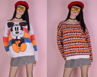80s Reversible Mickey Mouse Puffy Sweatshirt/ One Size/ 1980s/ Disney
