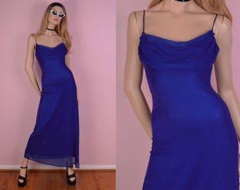 90s Blue and Purple Iridescent Maxi Dress/ US 7-8/ 1990s