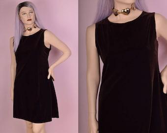 90s Brown Velvet Dress/ 2X-3X/ 1990s/ Tank/ Sleeveless