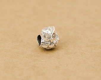 925 sterling silver owl beads animal beads bird beads european beads big hole beads