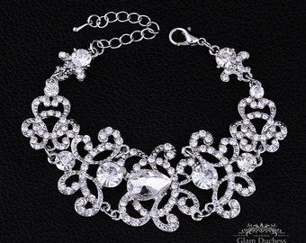 Bridal bracelet, wedding bracelet, crystal jewelry, Victorian evening bracelet