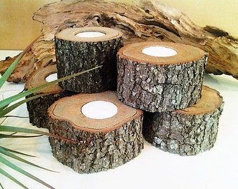 100 Large Wood candleholders -Wood Tree slices - Rustic Wedding -  Party events - Home decor - Cabin decor