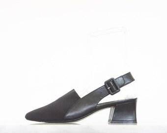 90s Black Fabric Leather Slingback Shoes / Women's Size 9.5 US - 40 Eur - 7.5 UK