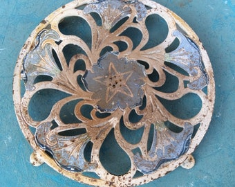 Antique painted cast iron round trivet Shabby chic  kitchen decor home decor collectibles