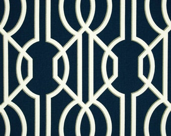 Navy Blue Deco Lattice Curtains  Rod Pocket  63 72 84 90 96 108 or 120 Long by 24 or 50 Wide