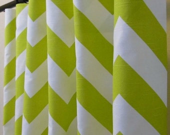 Artist Green and White Chevron Curtains - Rod Pocket - 63 72 84 90 96 108 or 120 Long by 24 or 50 Wide