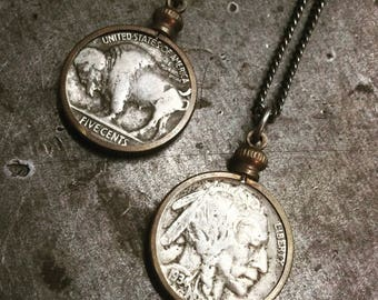 ReaL BuffaLo NickeL Indian Native American Head various YearS set in VintagE cool Patina pendanT on antiqued Sterling SilveR chain Necklace