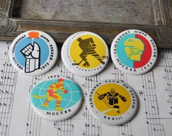"Vintage Soviet Russian tin badges,pins.""Ice Hockey World Championship 1973"" Set of 5."