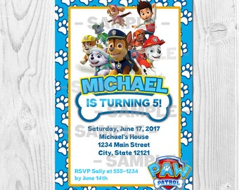 Paw Patrol Printable Birthday Invitation