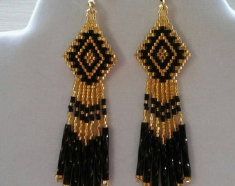 Native American Style Beaded Earrings in Black and Gold Southwestern, Boho, Hippie, Gypsy, Brick Stitch, Peyote Great Gift