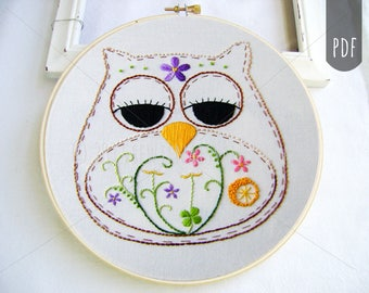 Embroidery Pattern PDF Owl Spring Flowers Bloom