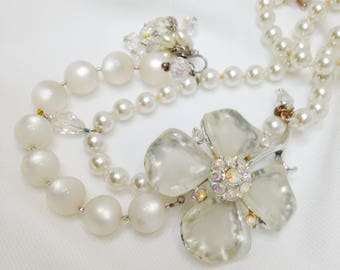 Refashioned vintage jewelry bridal necklace white moonstone dogwood lucite crystal assemblage summer