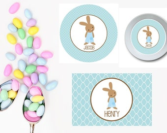 Classic BunnyBlue Plate/Bowl/Placemat . Easter Plate/Bowl/Placemat . Personalized Plate/Bowl/Placemat . Easter Bunny Plate/Placemat