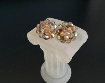 Aurora borealis earrings dome shaped tiered earrings  MCM clip on earrings jewelry bargain 1950s 1960s