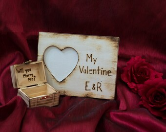 Surprise Him or Her with a Beautiful Rustic Valentine photo frame engraved with initials and a Proposal Ring Box for Valentine's day