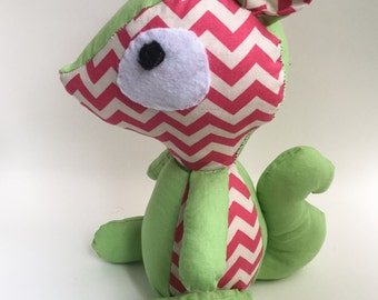Green and pink chevron squirrel fabric stuffed toy