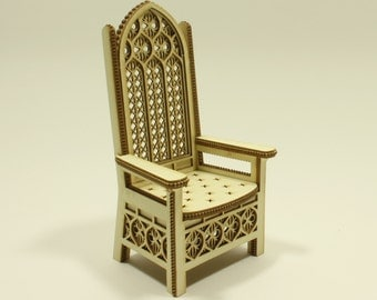 Miniature throne KIT , regal, royal, dolls house furniture, twelfth scale, 1:12 scale, 13cm (for DIY assembly)