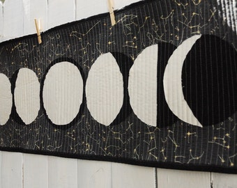 Moon Phases Wall Hanging, Organic Cotton, Wall Hanging, Moon Phases Banner, Table Runner, Ethical Home Decor, Galaxy Decor