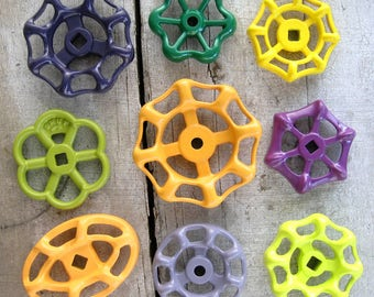 Colorful Vintage Valve Handles, Green, Purple, Yellow, Garden decor, Industrial, Steampunk, Group of 9 Aluminum