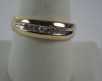 Diamond Ring 6.5mm wide Unisex .25Ctw Yellow Gold 10K 3.7gm Size 11.75 Wedding Anniversary