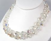 Vintage Aurora Bourealis Crystal Bead Double Strand Necklace Shepard Hook Vtg