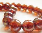 "Vintage Lucite Iridescent Transparent Pink Red Round Bead Necklace 16"" Gumballs"