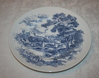 Vintage Enoch Wedgwood Countryside Dinner or Decorative Accent Plate Blue White Pastoral Bridge Castle Trees Forest England